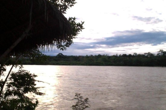 Ecuador Chocolate Lodge : The front rooms have view on river Napo, while the sunset and the moon reflect in the same view.
