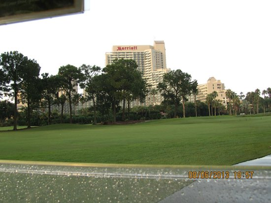 Hawks Landing Golf Club: View of hotel from between hole 8 & 9
