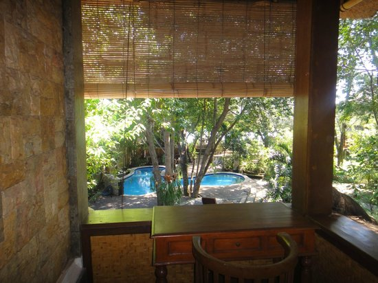 Alam Gili: Looking from the balcony to the small pool (Fish Suite)