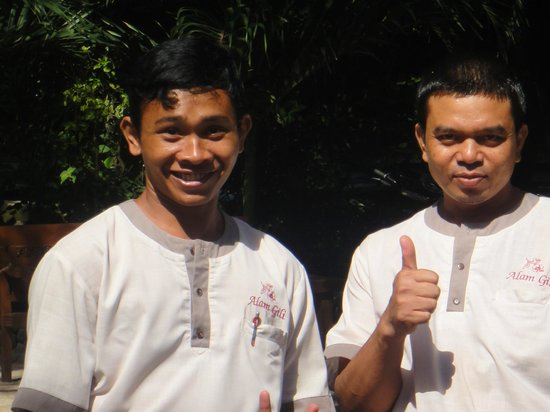 Alam Gili: Friendly staff, Anton on the left