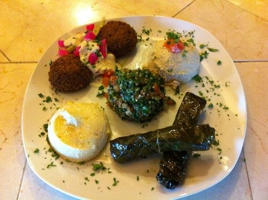 Mezza Platter-hummus, falafel, tabouli, baba ghnoush,&stuffed grape leaves