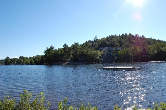 Charlton Lake Camp: View of lake by the cabins