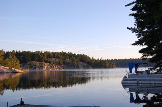 Charlton Lake Camp: view of lake in morning
