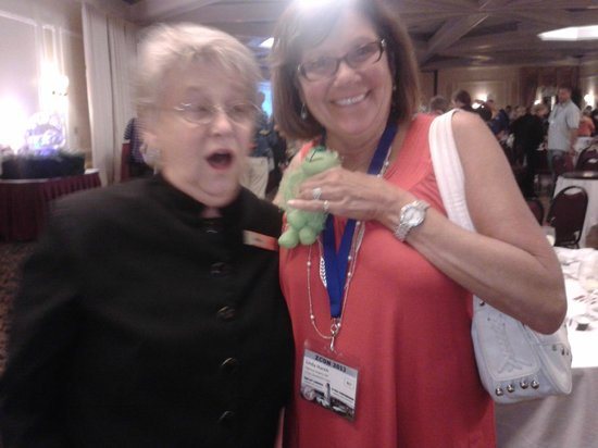 Crowne Plaza Hotel Nashua: Elaine returning our Lime green monkey who was missing for a week to my friend