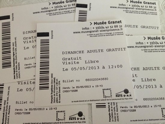 Musée Granet : Since you can't take photos inside the museum, here are our entry tickets