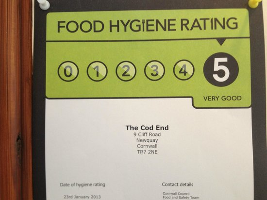 The Cod End Fish & Chip Shop: HYGIENE RATING