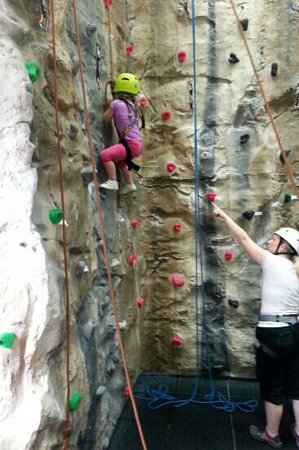Ambleside Climbing Wall: my 4 year old having a go