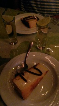 Blue Angel Restaurant: Flan and Tequila shot comes with meal