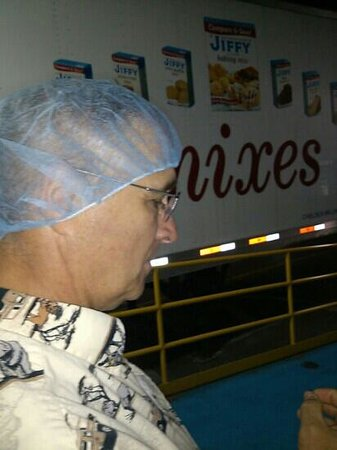 Jiffy Mix Company: Hair net wearing tour member.