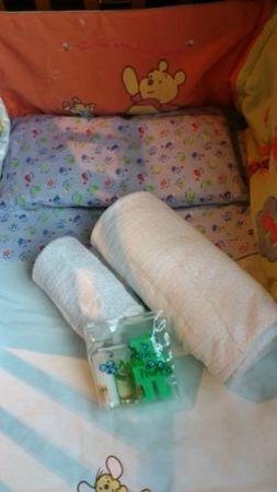 NH Madrid Las Tablas: detalle de las toallas y el neceser para bebes