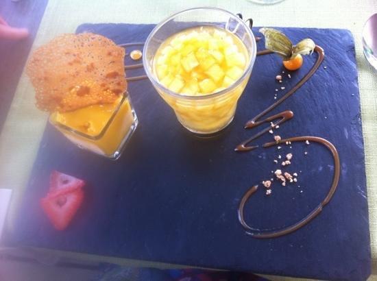 Restaurant Le Chalet Du Parc : salade d'ananas à la vanille et compotée de mangue