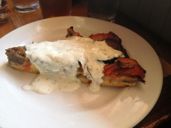 Knife and Fork: eggplant, tomato tart with yogurt sauce- really delicious!