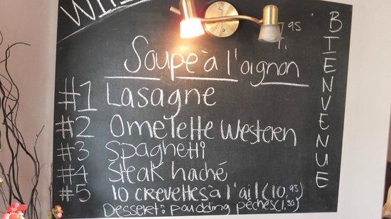 La Patrie, Canada: menu midi du 6 août