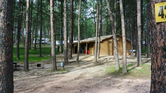 Big Pine Campground: View from our site; bathrooms/showers