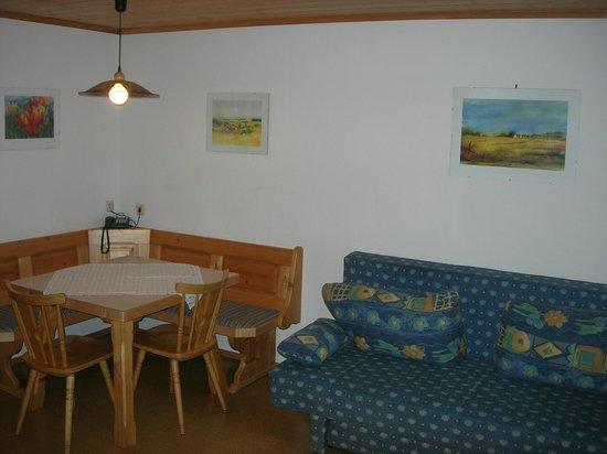Appartement-Pension Familie Gewessler: Wohnküche mit Couch