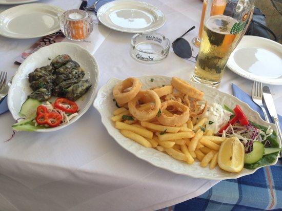 Medusa Restaurant : stuffed vine leaves and fresh calimari.