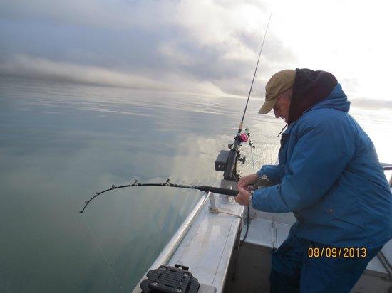 Kodiak Adventures Lodge - Larry Carroll: Uncle Carl pulling in a big one!