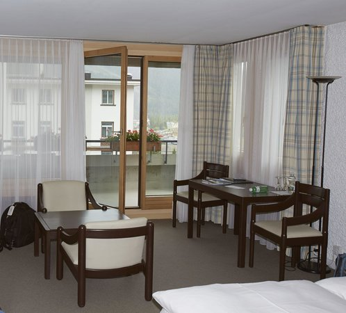 Hauser Hotel St. Moritz: the room and balcony