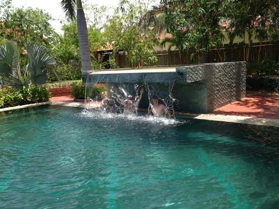 Full Moon Village: The waterfall end of the pool.