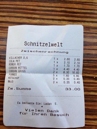 """Schnitzel Welt: scontrino di un pranzo """"ladro""""!"""