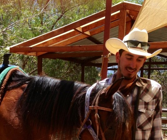 Los Angeles Horseback Riding: The guide and an Arab Mare