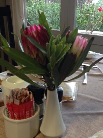 هيرمانوس لودج أون ذا جرين: decorazioni sul tavolo della colazione