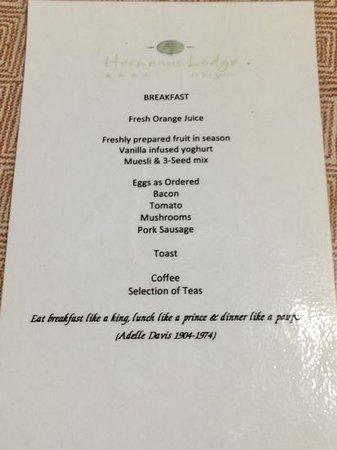 Hermanus Lodge on the Green : il menù della colazione