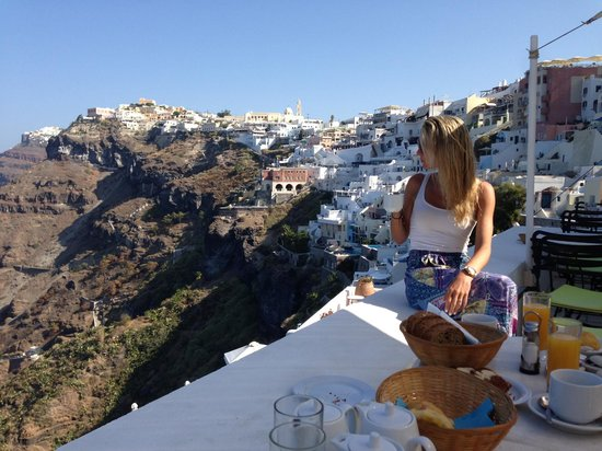 Cori Rigas Suites: View from Breakfast Balcony of Fira in background... Food was great too!