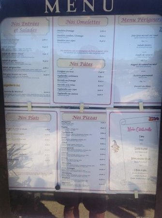 Camping Le Moulinal : resturant menu - at august 2013