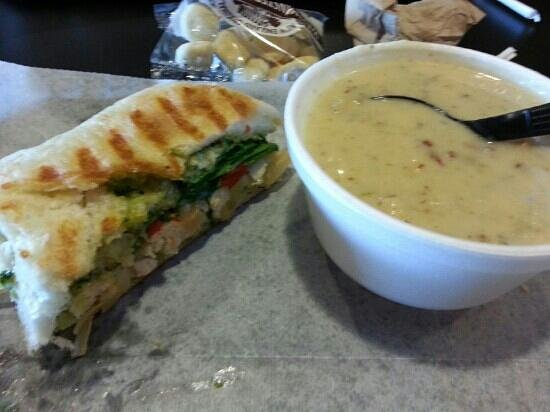 Hot Table: half of a small chicken pesto panini and baked potato soup - delicious!