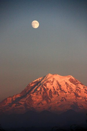 A View With A Room : Moon Rising Over Rainier