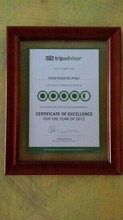 Hotel Portal del Angel: Certificado de Excelencia