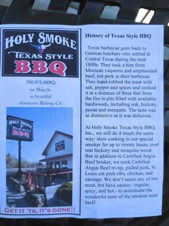 Holy Smoke Texas BBQ: Holy Smoke menu.