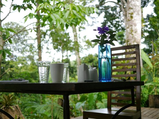Prana Rainforest Retreat: Fantastic breakfast every morning with an amazing view!