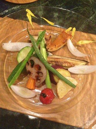 Akarinoyado Villa Revage: Sea salted vegs for dinner - locally farm!