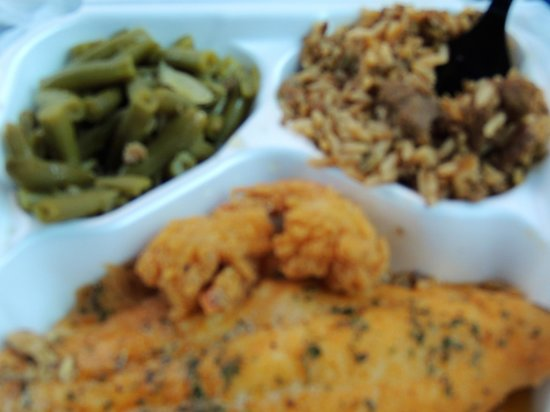 Tony's Seafood: Green beans, dirty rice, fried shrimp and grilled fish