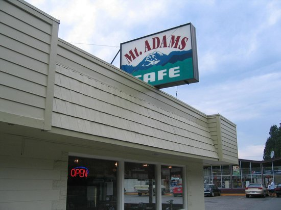 Mount Adams Cafe : Look for this sign as you drive through Randle, WA.