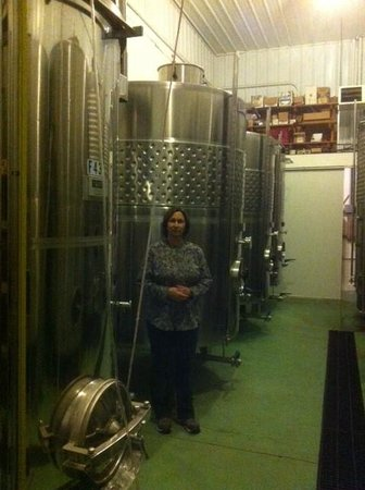 Arrowhead Wine Cellars: Kathy and the Fermenting Tanks