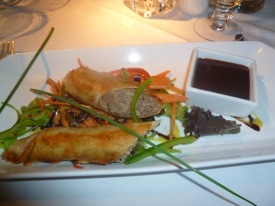 The Timble Inn: Homemade Duck springrolls a delightful starter.
