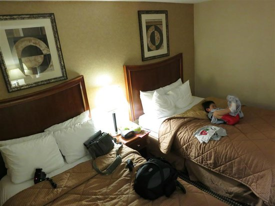 Comfort Inn & Suites: double beds squished in room