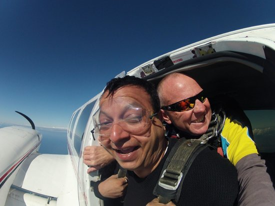 Gold Coast Skydive: Just at the door before dropping! I can do it!