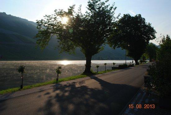 Moselhotel Leyendecker: Morning mist on the river outside hotel