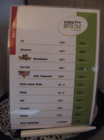 Garden Hotel: Bar price list for in room bar