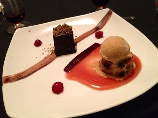 crave kitchen + wine bar : Chocolate baileys pâté and upside down Saskatoon cake and caramel ice cream