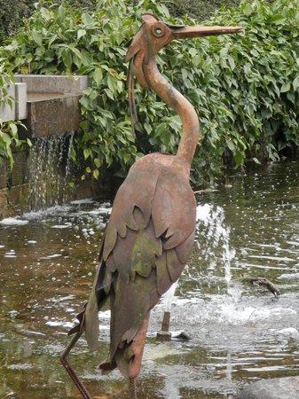 Durham University Botanic Garden: The fabulous heron statue in the pond