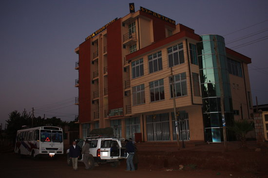 Sodo, Ethiopia: The hotel at dawn