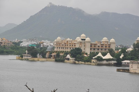View of Leela Hotel from Sunset Terrace