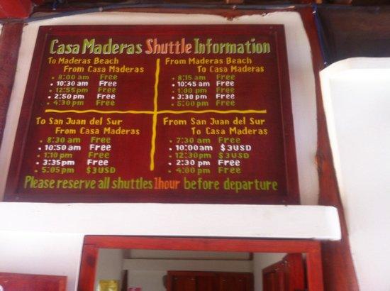Casa Maderas: Shuttle Schedule