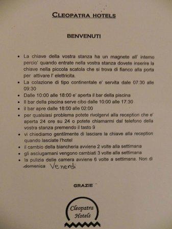 Cleopatra Hotels Kris Mari : Regole hotel