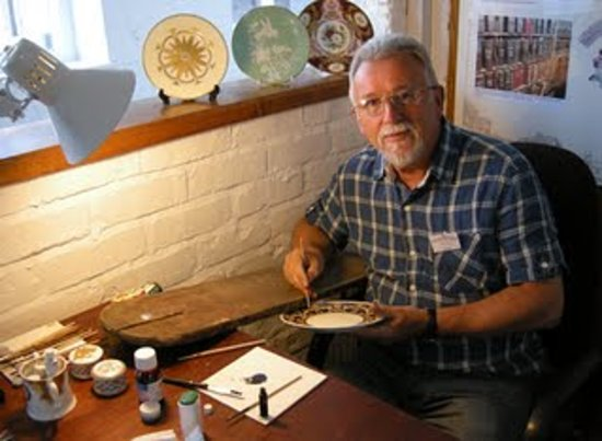 The Spode Museum Trust Heritage Centre: David demonstrating raised paste gilding